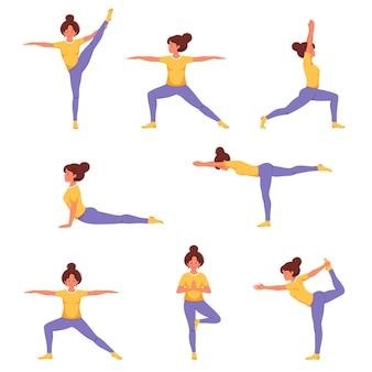 Mulher fazendo ioga conjunto de poses de ioga estilo de vida saudável, bem-estar, relaxamento, recreação Vetor Premium