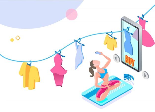 Mulher fazendo ioga e compra fácil com o aplicativo móvel.