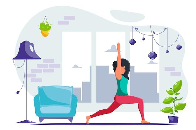 Mulher fazendo ioga em casa no interior moderno. em um estilo simples
