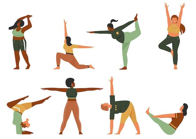 Mulher fazendo ioga pose conjunto de ilustração vetorial. personagem de ioga feliz multinacional plus size de desenho animado em roupas esportivas alongamento corporal, garotas gordas praticando diferentes posturas de asana isoladas em branco