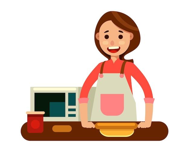Mulher fazendo massa de massa no personagem de cozinha