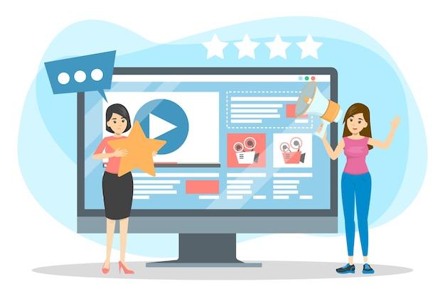 Mulher fazendo promoção de blog de vídeo. publicidade de conteúdo