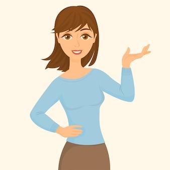 Mulher fazendo um gesto de apresentação com a mão