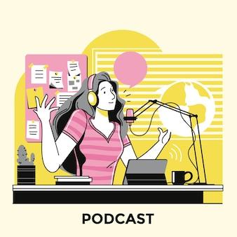 Mulher fazendo um podcast ilustrado
