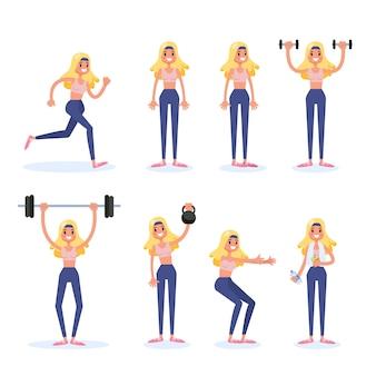 Mulher fazendo vários esportes exercício conjunto. treinamento