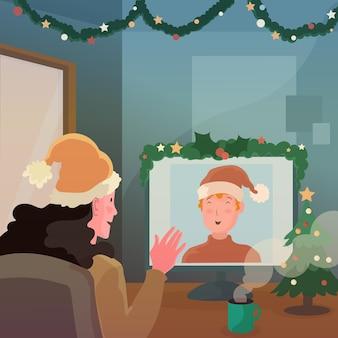 Mulher fazendo videochamadas com uma amiga no natal