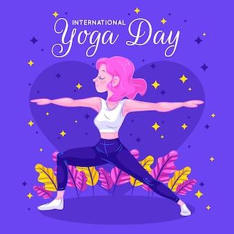 Mulher fazendo yoga folhas amarelas e rosa