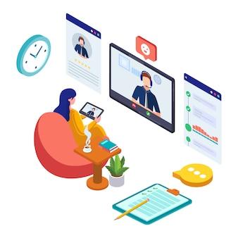 Mulher fazer comunicação com atendimento ao cliente. conexão de distanciamento de trabalhador de negócios.
