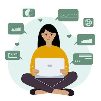 Mulher feliz, analisando dados em seu laptop e sentada de pernas cruzadas. conceito de ciência de dados. gráficos e tabelas de negócios. ilustração em vetor plana.