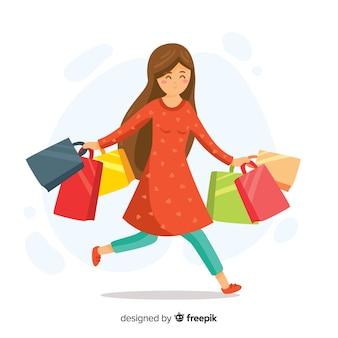Mulher feliz, carregar, bolsas para compras