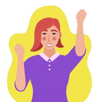 Mulher feliz com as mãos para cima
