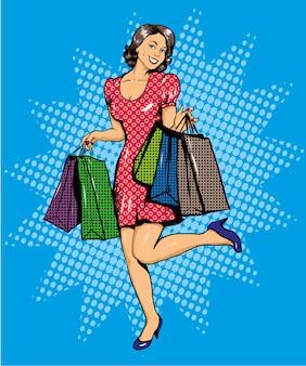 Mulher feliz, com, sacolas, shopping
