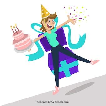 Mulher feliz com um bolo de aniversário