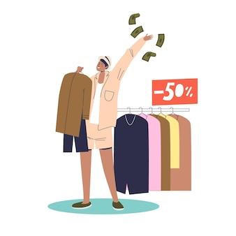 Mulher feliz comprando roupas novas com 50% de venda