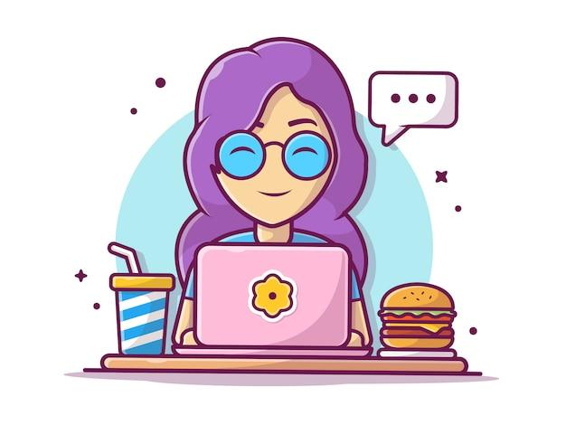 Mulher feliz conversando e fazendo tarefas com hambúrguer, batatas fritas e refrigerante, ilustração branco isolado