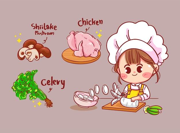 Mulher feliz cute chef cozinhar comida na cozinha. ilustração da arte dos desenhos animados