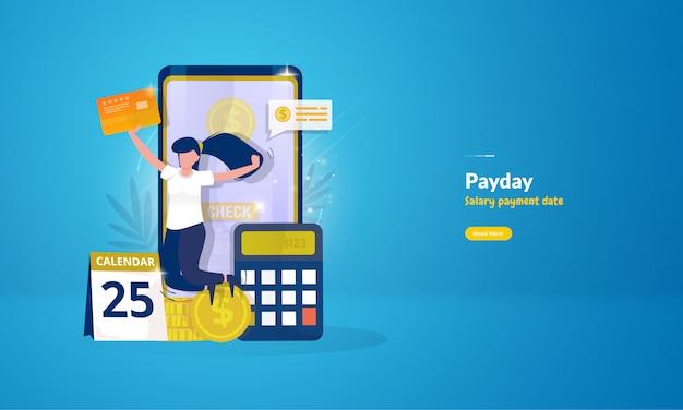 Mulher feliz depois de receber pagamento de salário por conceito de ilustração de dia de pagamento