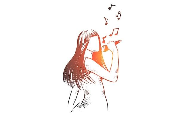 Mulher feliz desenhada à mão cantando uma música no esboço do conceito do clube de karaokê