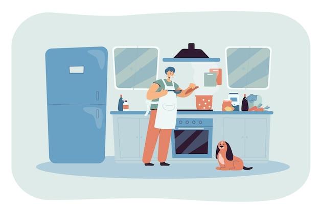 Mulher feliz dos desenhos animados cozinhando comida no fogão na cozinha