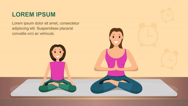 Mulher feliz e criança fazem fitness. hora de yoga