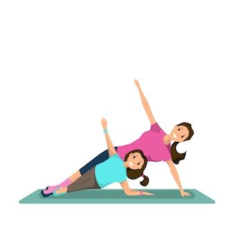 Mulher feliz e criança fazendo treinamento físico