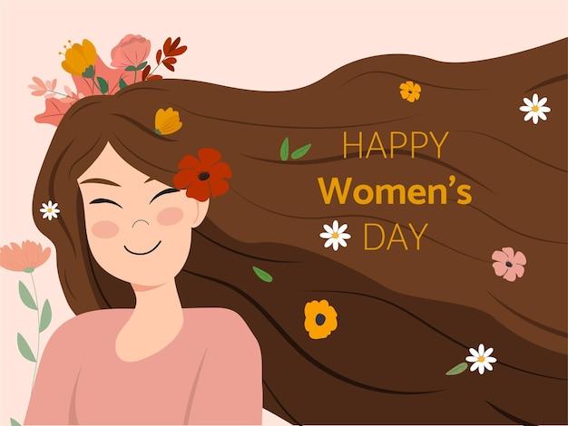 Mulher feliz e flores coloridas no feliz dia da mulher