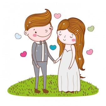 Mulher feliz e homem casamento com corações