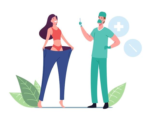 Mulher feliz e magra vestindo calças grandes, cirurgião médico personagem masculino segurando bisturi