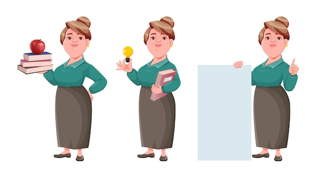 Mulher feliz e sorridente de meia idade, professora conjunto de três poses