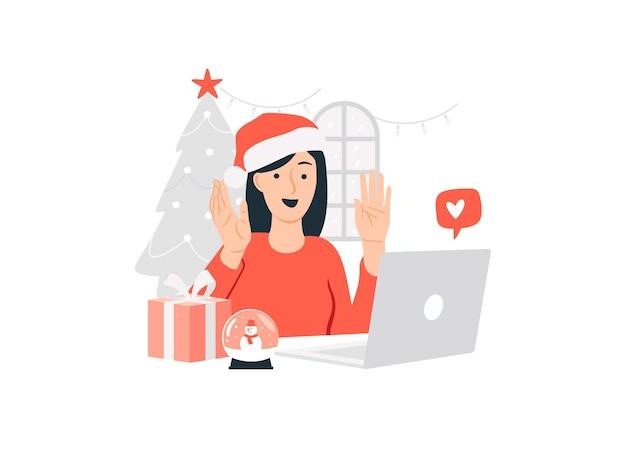 Mulher feliz em casa usando chapéu de papai noel usando laptop e cumprimentando seus amigos durante a videochamada na ilustração do conceito do dia de natal