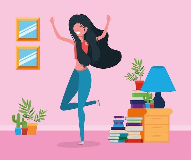 Mulher feliz, em, estudo, sala