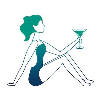 Mulher feliz em traje de banho com ilustração vetorial de coquetel
