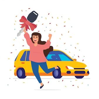 Mulher feliz ganhar um carro