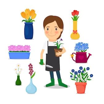 Mulher feliz, jardinagem, ícones