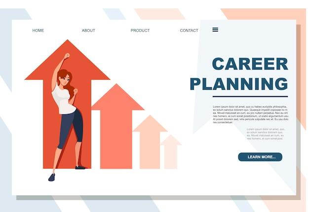 Mulher feliz jovem ruiva com a mão levantada conceito de planejamento de carreira cartoon personagem design plana ilustração em vetor na página do site do banner de publicidade de fundo branco.