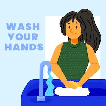 Mulher feliz, lavando as mãos no banheiro