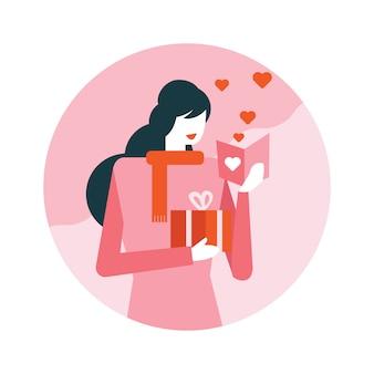 Mulher feliz, leitura, valentine's, cartão
