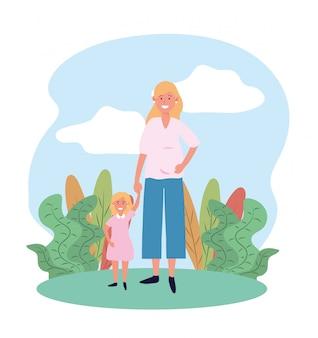 Mulher feliz mãe com sua filha e plantas fofos