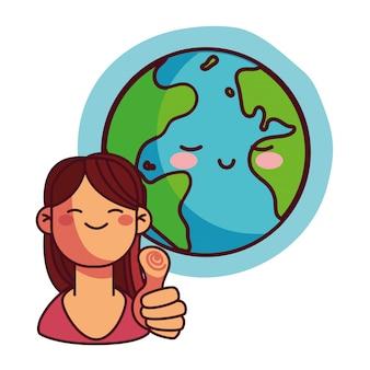 Mulher feliz pela conservação da terra