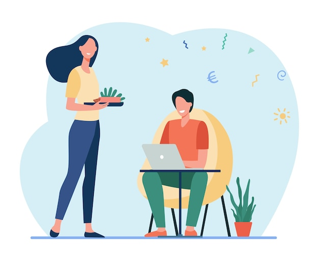 Mulher feliz preparando comida para o homem que trabalha em casa. laptop, computador, ilustração em vetor plana de investimento. freelance e família