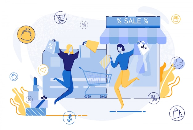 Mulher feliz pulando com sacos de compras, venda