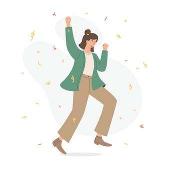 Mulher feliz pulando de alegria e sucesso