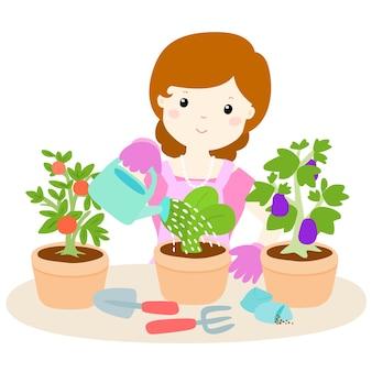 Mulher feliz regando desenhos animados das plantas