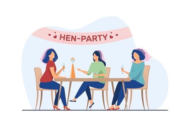 Mulher feliz se divertindo na festa da galinha. noiva, amigo, ilustração em vetor plana coquetel. casamento e celebração
