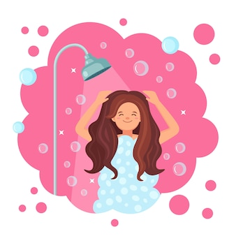 Mulher feliz tomando banho no banheiro. lave a cabeça, o cabelo, o corpo e a pele com xampu, sabonete, esponja e água. higiene, rotina diária, relaxe.