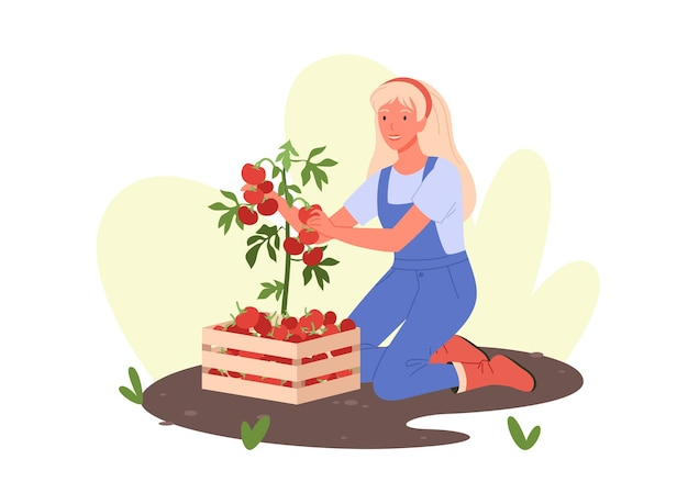 Mulher feliz trabalhando em uma estufa de jardim ecológico