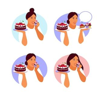 Mulher feliz vai comer bolinho delicioso. ilustração em vetor plana dos desenhos animados isolada