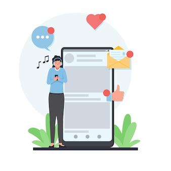 Mulher fica ao lado do telefone e ouve música com uma cara feliz e gosta do ícone do amor