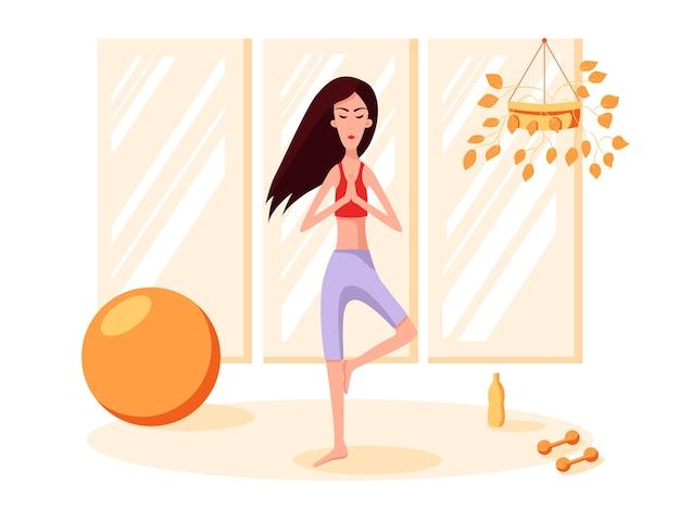 Mulher fica em uma pose de equilíbrio. praticar esportes. ilustração dos desenhos animados do vetor de cor. fique em casa.