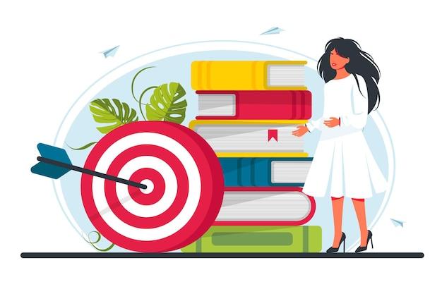 Mulher fica perto de uma pilha de livros no alvo. mova a motivação, o caminho para a realização da meta, o trabalho em equipe contratado com sucesso. ilustração vetorial
